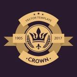 Raios dourados da glória e estrelas Fita curvada para o texto Estilo disponivel do desenho das imagens do vetor Logotipo do molde ilustração royalty free