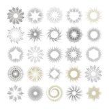 Raios e elementos do projeto do starburst Imagem de Stock