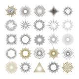 Raios e elementos do projeto do starburst Imagem de Stock Royalty Free