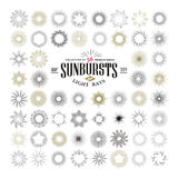 Raios e elementos tirados mão do projeto do starburst Imagens de Stock Royalty Free