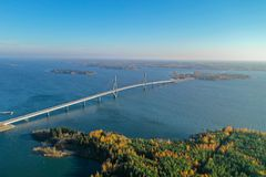 Free Raippaluoto, Finland - October 14, 2018: Longest Bridge Of Finland At Raippaluoto Captured With Drone On Sunny Day Royalty Free Stock Images - 143502529