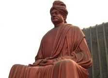 Raipur, Chhattisgarh, India - January 7, 2009 Huge red color statue of Swami Vivekananda. Big red, copper color stone statue of Swami Vivekananda at Burha Talab stock photos