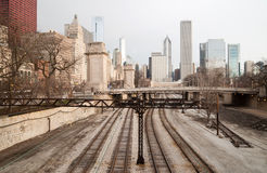 Rairoad Train Tracks Railyards Downtown Chicago Skyline Transportation Stock Photo
