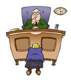 Raise. Cartoon illustration of an employee begging for a raise Stock Photo