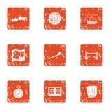 Raise build icons set, grunge style. Raise build icons set. Grunge set of 9 raise build vector icons for web isolated on white background Stock Image