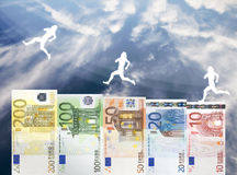 Raise of Euro money value. Concept of European Euro currency raising in value stock photo