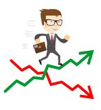 Raise and fall of business indicators. Career lift concept Royalty Free Stock Image