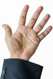 Raise five finger businessman hand. In white background Stock Images