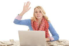 Raise hand computer money Royalty Free Stock Photo
