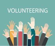 Raise hands Hand gesturing Volunteering Voting. Green background. Vector illustration stock illustration