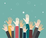 Raise hands Hand gesturing Volunteering Voting. Green background. Vector illustration. Raise hands Hand gesturing Volunteering. Voting royalty free illustration