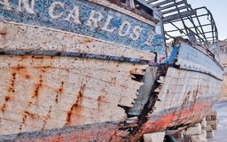 Raise, old, broken Ship Wreck of San Carlos near yacht harbour royalty free stock images