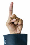 Raise one finger businessman hand. In white background Stock Image