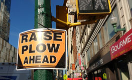 Raise Plow Ahead, Road Sign, NYC, USA Royalty Free Stock Photos