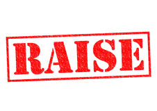 RAISE. Red Rubber Stamp over a white background Stock Images
