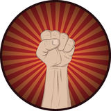 Raise your fist and yell. Fight the power. Hand with raised clenched fist, political protest demonstration Royalty Free Stock Photography