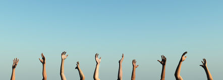 Raise your Hands. 3D rendered Illustration. Generic clear Sky Background Royalty Free Stock Photo