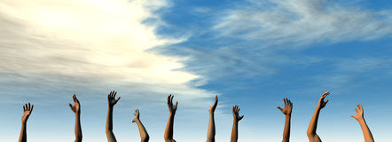 Raise your Hands - Summer Sky. 3D rendered Illustration. Raise your Hands to the summer Sky Royalty Free Stock Photography