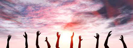 Raise your Hands - Sunset Royalty Free Stock Photo
