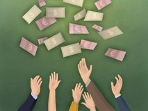 Raised arms and banknotes Stock Photo