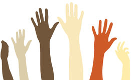Raised arms of diversity Stock Photo