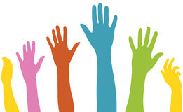 Raised arms of diversity Stock Images
