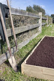 Raised Bed Vegetable Garden. Newly constructed raised vegetable bed filled with soil and compost. Garden tools leaning against a fence Royalty Free Stock Photography