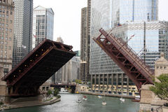 Raised bridge in downtown Chicago. Raised bridge for sailing boats  in downtown Chicago, USA Royalty Free Stock Photos