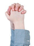 Raised clenched hands - hand gesture Stock Images