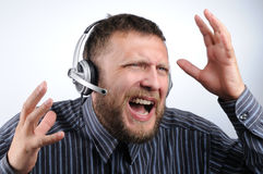The raised customer service boy Royalty Free Stock Photography
