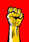 Raised fist. Raised clenched fist - symbol of revolution and uprising against oppression and injustice. Yellow vector illustration in comics style on red royalty free illustration