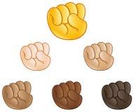 Raised fist hand emoji. Raised fist pump hand emoji set of various skin tones Stock Image