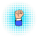 Raised fist, hand gesture icon, comics style Royalty Free Stock Photography