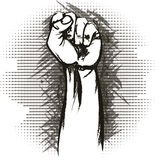 The raised fist. Illustration with raised fist drawn in vintage charcoal chalk sketch style vector illustration