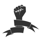 The raised fist in tapes. a fight symbol for freedom. Stock Photo