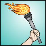 Raised fists holding torch Stock Photo