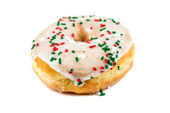 Raised frosted donuts. Isolated on a white background Royalty Free Stock Photos