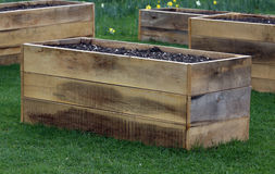 Raised garden bed. S made from wood material, ready for planting vegetable garden Stock Images