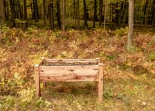 Raised garden bed on legs located in forest of Wisconsin during. Autumn season royalty free stock images