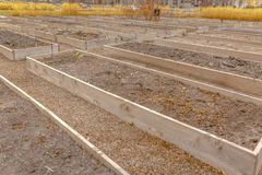 Raised garden beds with faucets in Daybreak Utah royalty free stock image