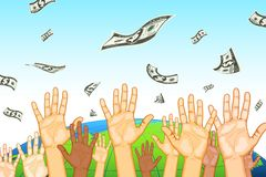 Raised Hand Catching Dollar Royalty Free Stock Photography