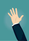 Raised Hand in Long Sleeve Showing Open Palm Vector Illustration Stock Photos