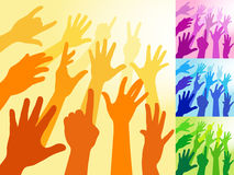 Raised Hands. A collection of hands and raised arms shapes Stock Photo