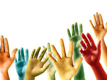 Raised Hands. Multi-colored raised hands on white background, copyspace available. Digital illustration Stock Image