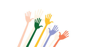 Raised hands stock photos