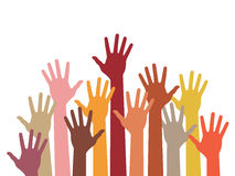 Raised hands. Abstract vector illustration Stock Photos