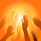 Raised Hands. Vector illustration of raised hand on gradient yellow orange background Royalty Free Stock Images