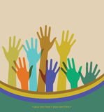 Raised hands. Raised colorful hands. Vector illustration Royalty Free Stock Photo