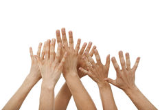 Raised hands Stock Images