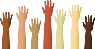 Raised hands. A group of mixed race raised hands Royalty Free Stock Images